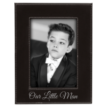 4 x 6 Black & Silver Leatherette Photo Frame