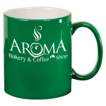 11 oz. Green Round Ceramic Mug