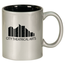 11 oz. Silver/Black Round Ceramic Mug