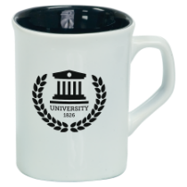 10 oz. White/Black Ceramic Rounded Corner Mug