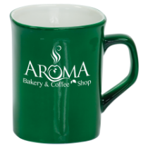 10 oz. Green Ceramic Rounded Corner Mug