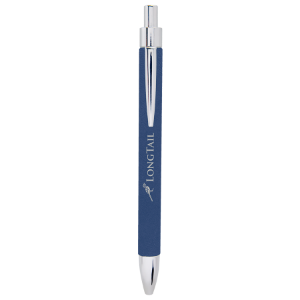Blue/Silver Laserable Leatherette Pen
