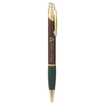 Burgundy & Gold Ballpoint Pen with Rubber Gripper