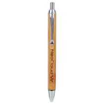 Bamboo Ballpoint Pen with Silver Trim
