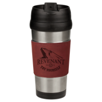 16 oz. Stainless Steel Travel Mug with Rose Leatherette Grip