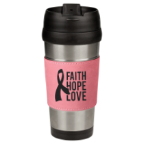 16 oz. Stainless Steel Travel Mug with Pink Leatherette Grip