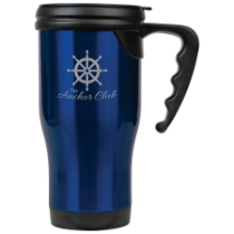 16 oz. Gloss Blue Travel Mug with Handle
