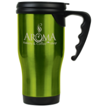 16 oz. Gloss Green Travel Mug with Handle