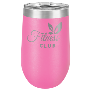 Pink 16 oz. Polar Camel Stemless Tumbler with Clear Lid