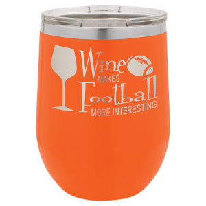 Orange 12 oz. Polar Camel Stemless Wine Tummbler with Clear Lid