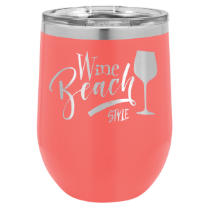 Coral 12 oz. Polar Camel Stemless Wine Tumbler with Clear Lid