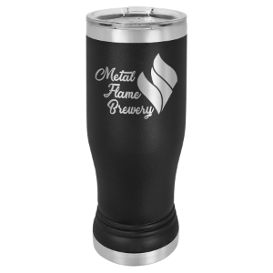 Black 14 oz. Polar Camel Pilsner Tumbler with Clear Lid