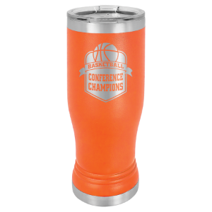 Orange 14 oz. Polar Camel Pilsner Tumbler with Clear Lid