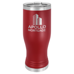 Maroon 20 oz. Polar Camel Pilsner Tumbler with Clear Lid