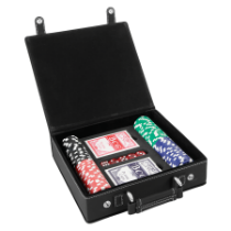 Black & Silver Leatherette Poker Set with 100 Chips, 2 Decks of Card & 5 Dice