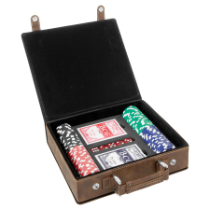 Rustic & Gold Leatherette Poker Set with 100 Chips, 2 Decks of Card & 5 Dice