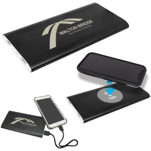 8000MAH Black Power Bank and Wireless Anodized Aluminum Charger with USB Cord