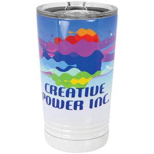 Sublimatable White 16 oz Polar Camel Pint Tumbler with Slider Lid