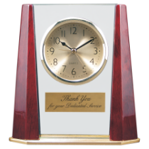 Rosewood Piano Finish Wood & Glass Clock with Bevel Columns & Metal Base