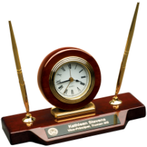 Rosewood Finish Desk Clock on Base with 2 Pens