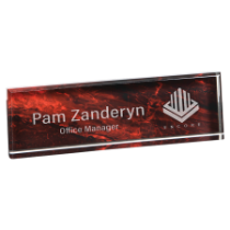 Red Marble Acrylic Name Bar