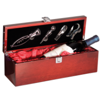 Rosewood Piano Finish Single Wine Presentation Box with 4 Tools