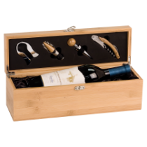 Bamboo Single Wine Presentation Box with 4 Tools