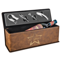 Rustic & Gold Leatherette Single Wine Box with 4 Tools