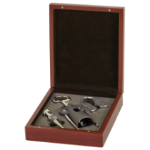 Rosewood Finish 3-Piece Wine Gift Set